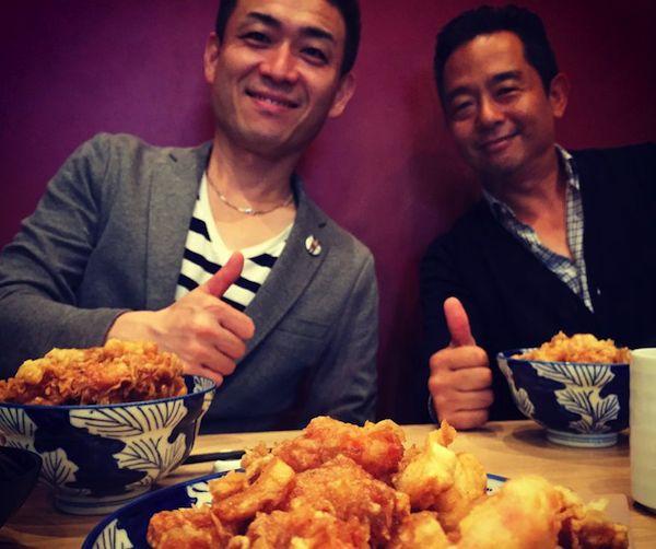 岡崎社長にウワサの天丼屋さんにやっと連れてってもらいました♡( しんちゃんも一緒に )